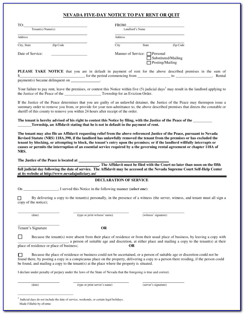 Las Vegas Eviction Forms
