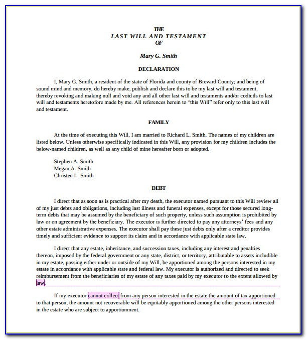 Last Will And Testament Form Free Florida
