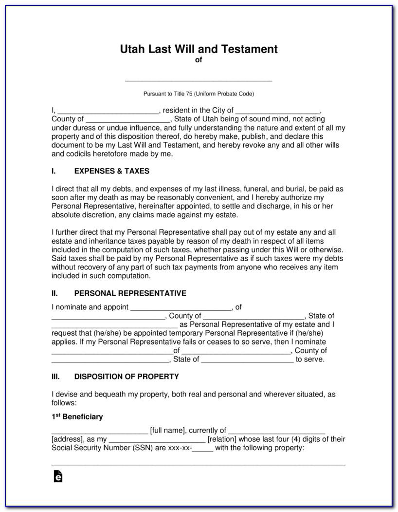 Last Will And Testament Form Utah