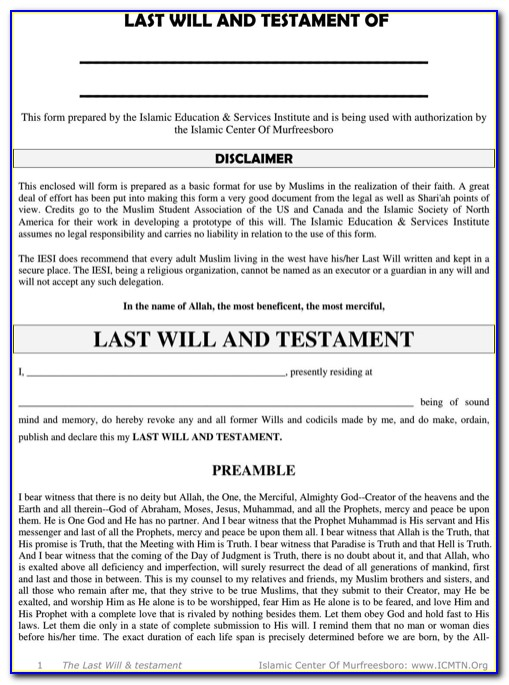 Last Will And Testament Forms Free Download Canada
