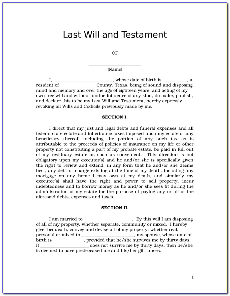 Last Will And Testament Forms Free Download