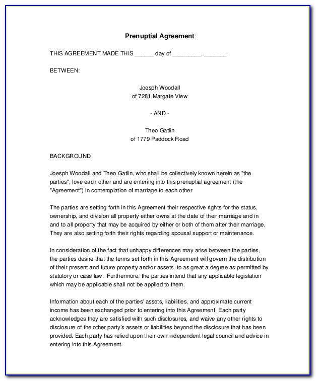 Lawdepot Prenuptial Agreement Form