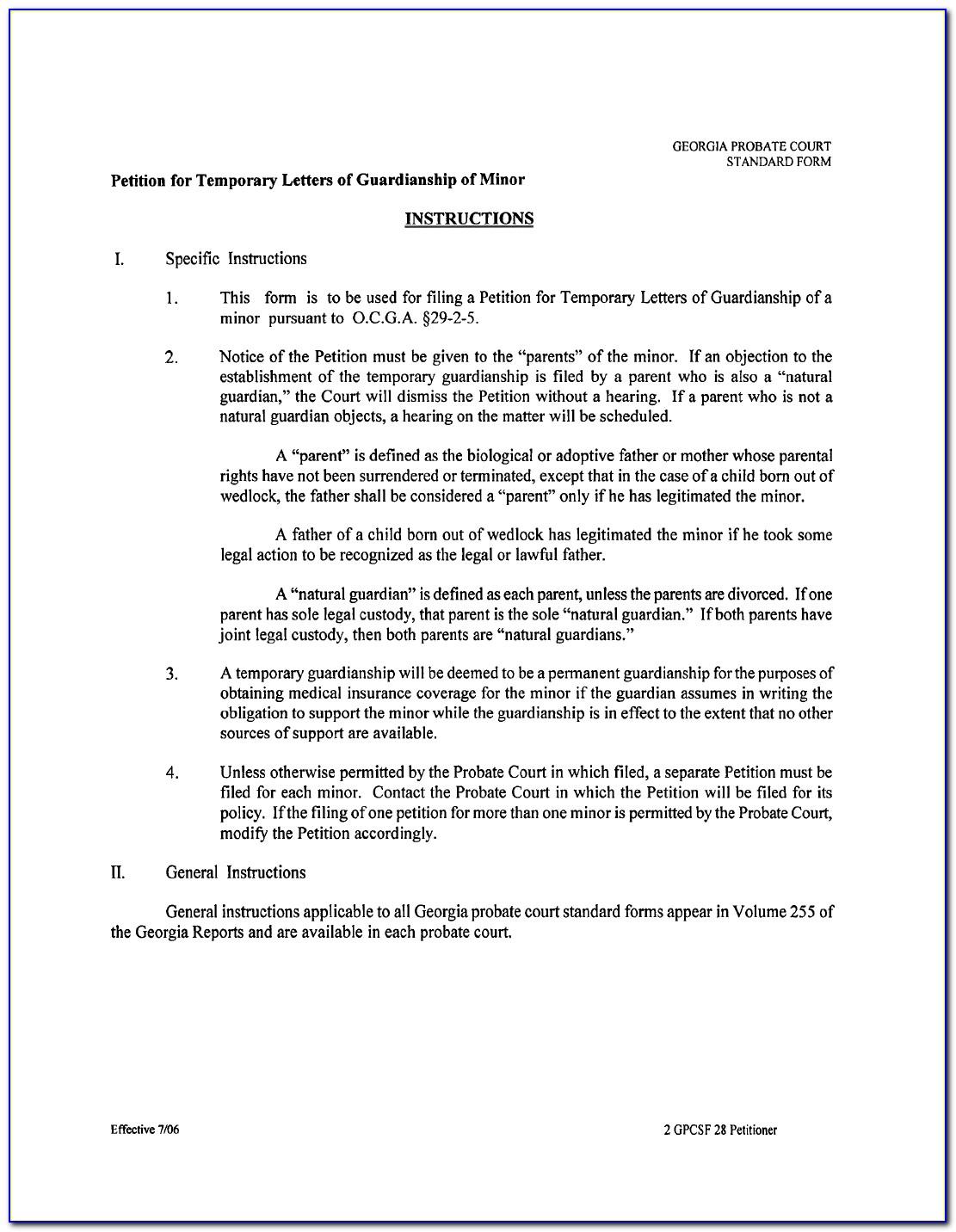 Legal Guardianship Forms Georgia