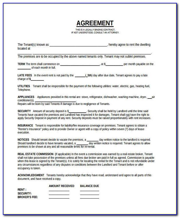 Legal Tenancy Agreement Form