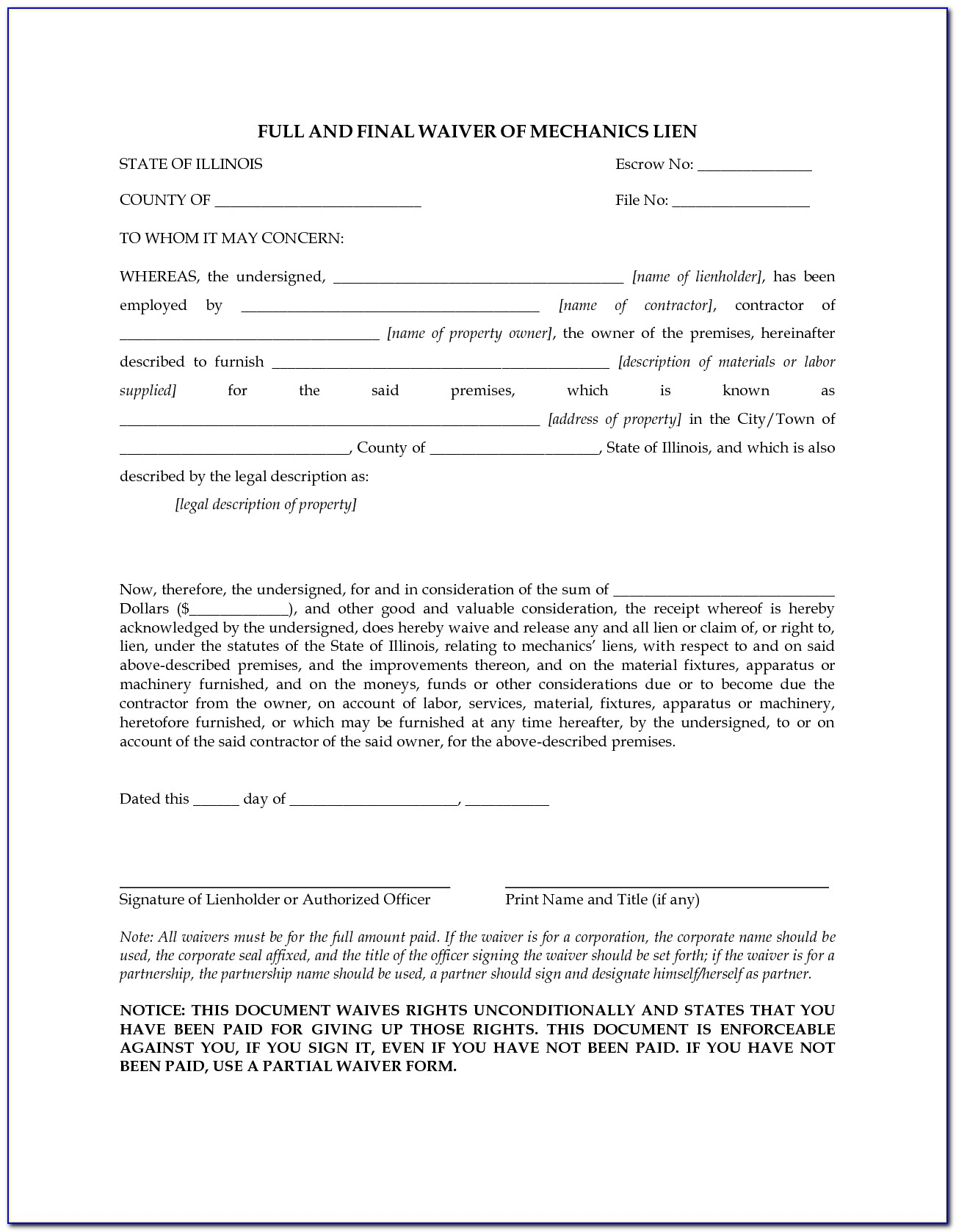 Lien Waiver Form Ny