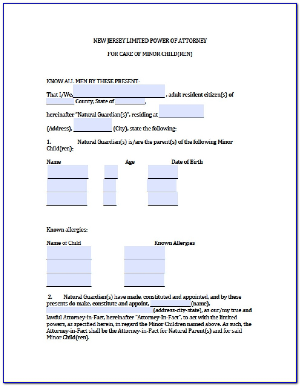 Limited Power Of Attorney Form Nj