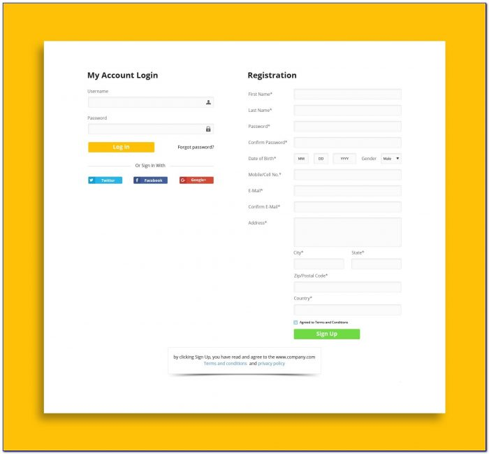 Login And Registration Form In Html Template Free Download