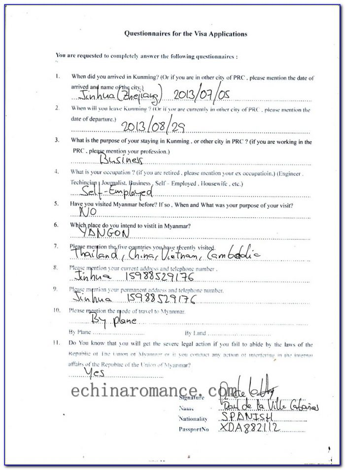 Malaysian Embassy In Myanmar Visa Application Form