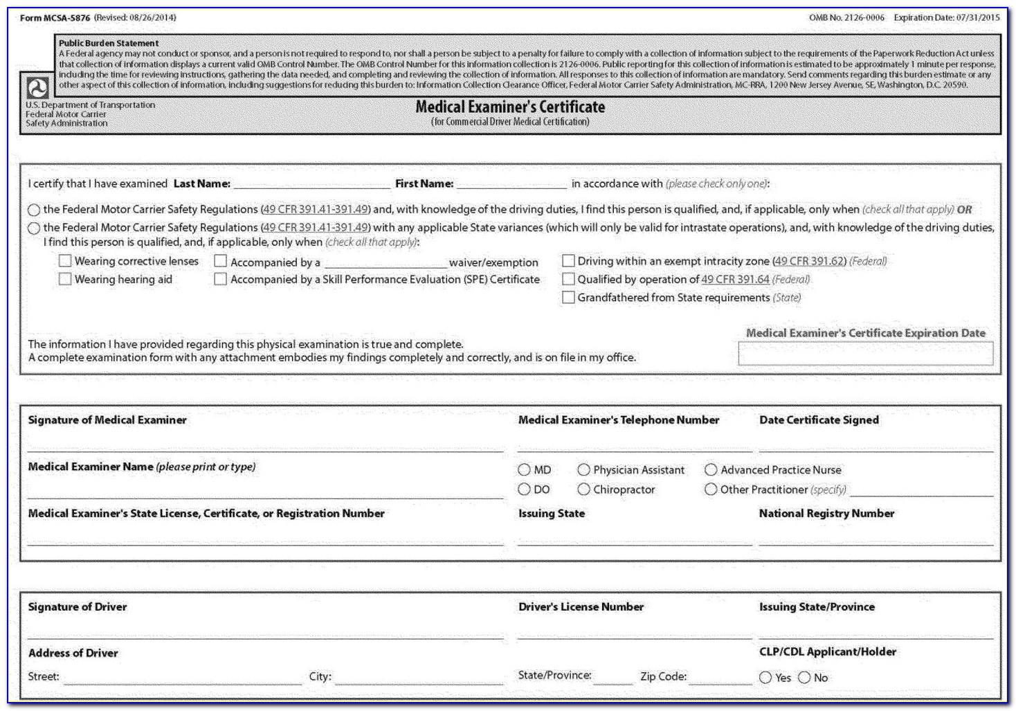 Maryland Dot Cdl Physical Form
