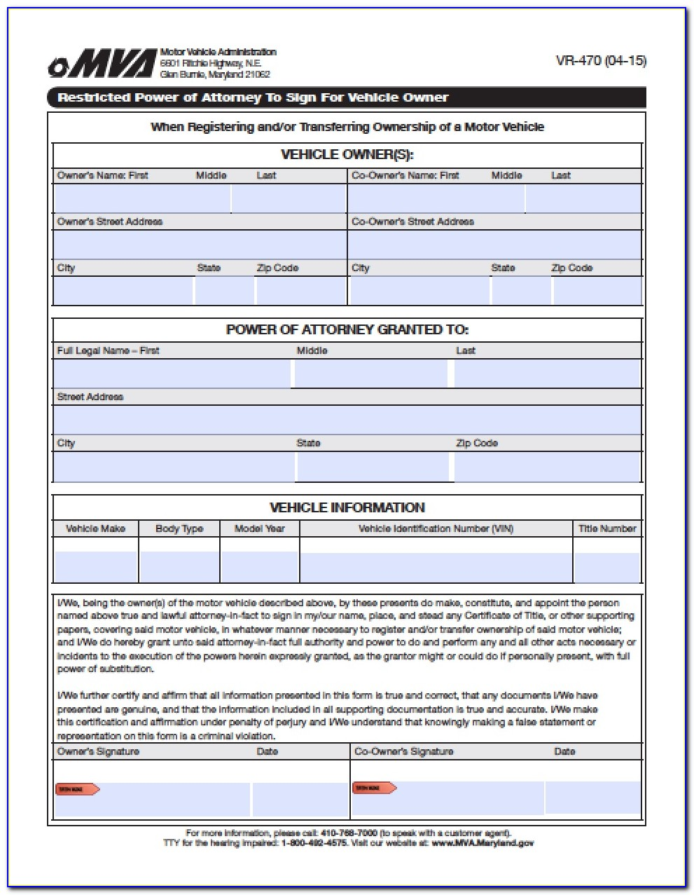 Maryland Health Care Power Of Attorney Forms