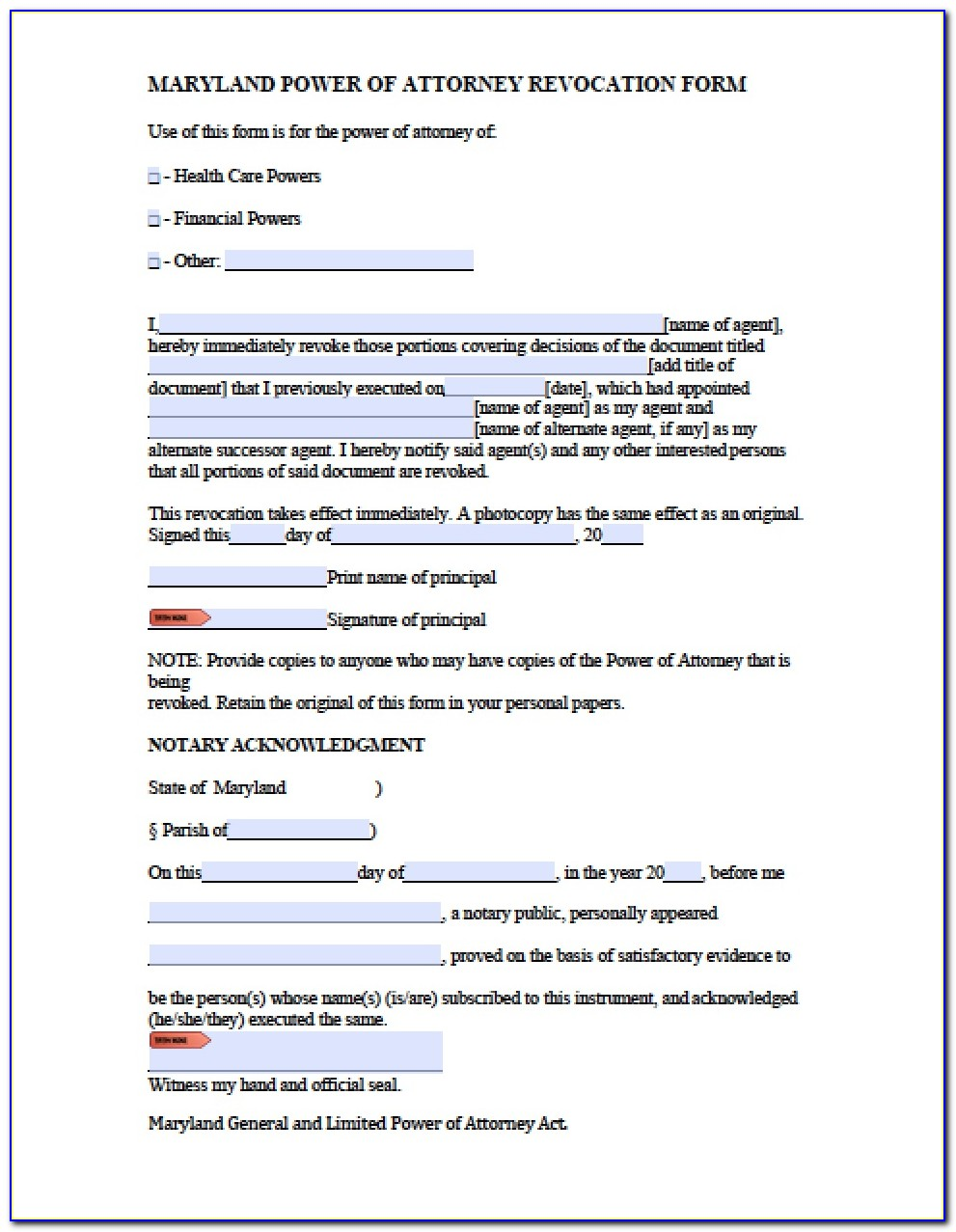Maryland Power Of Attorney Form Real Estate