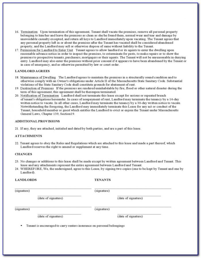 Massachusetts Standard Form Apartment Lease Simplified Fixed Term