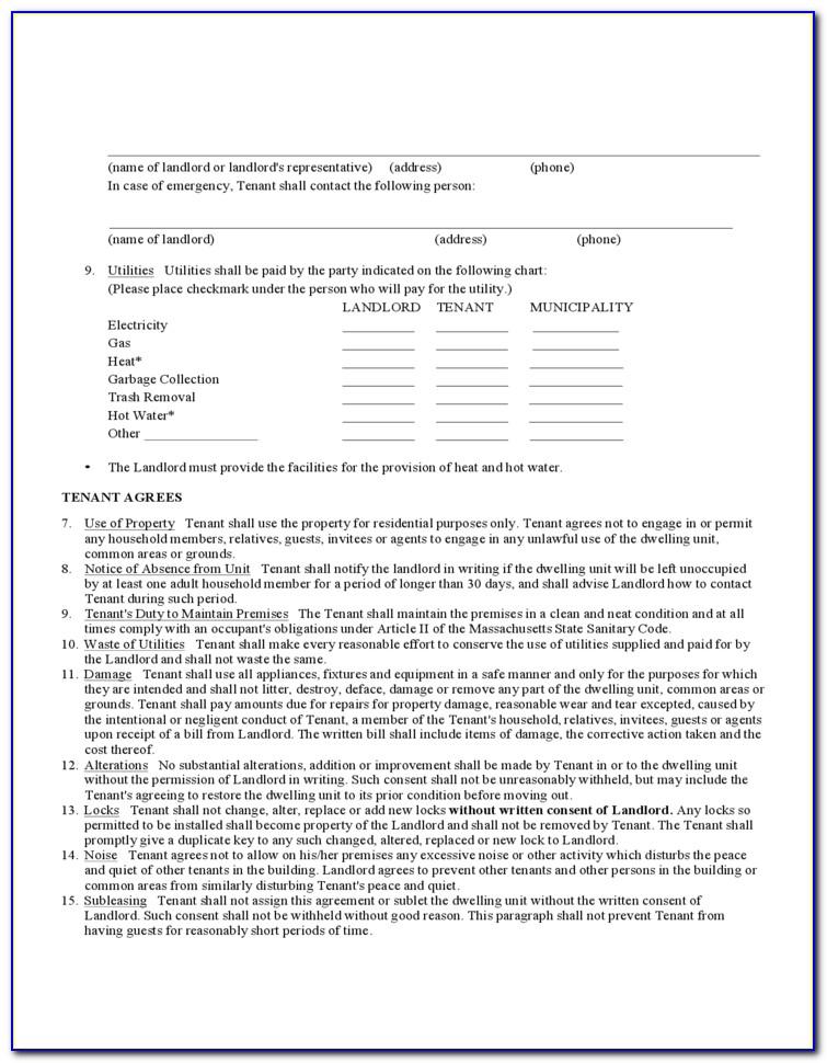 Massachusetts Standard Form Commercial Lease