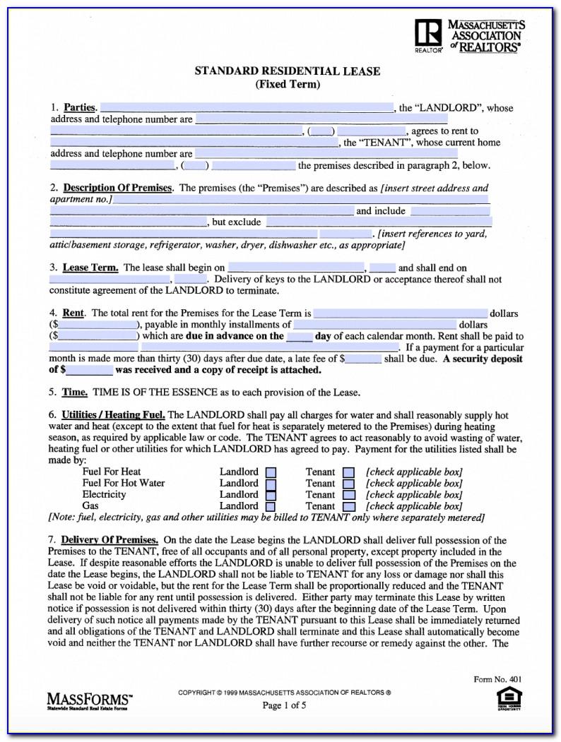 Massachusetts Standard Lease Form