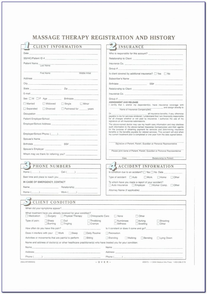 Client Intake Form Massage Therapy Form Resume Examples