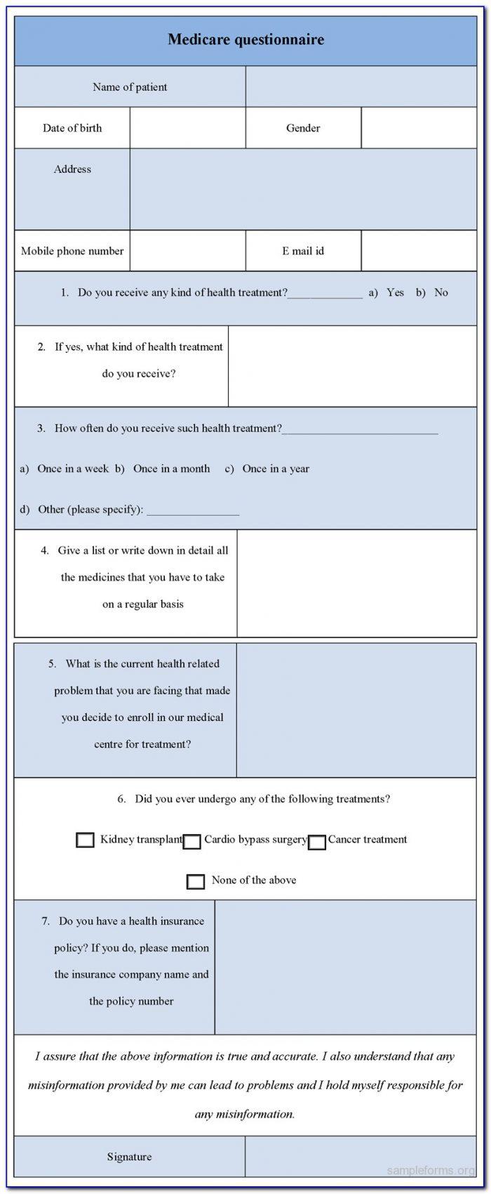 Medicare Initial Enrollment Questionnaire Form