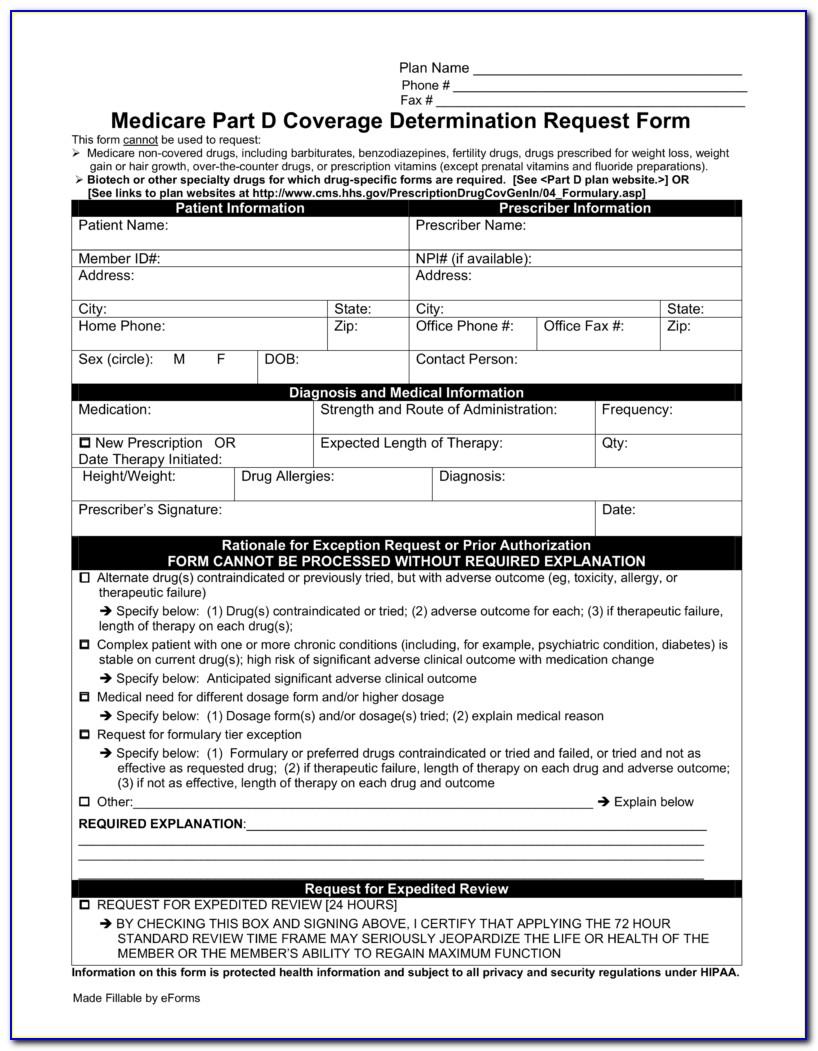 Medicare Part D Medication Prior Authorization Form