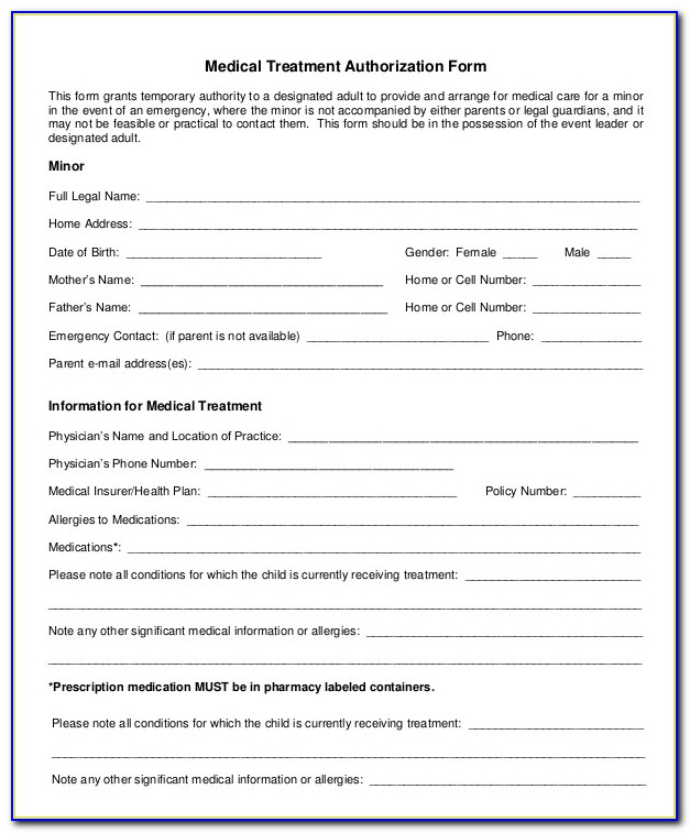 Minor Health Care Consent Form