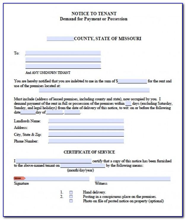 Missouri Eviction Notice Form Free