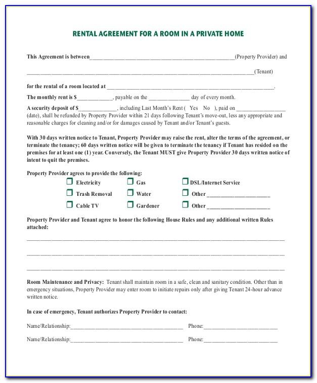Month To Month Room Rental Agreement Form California