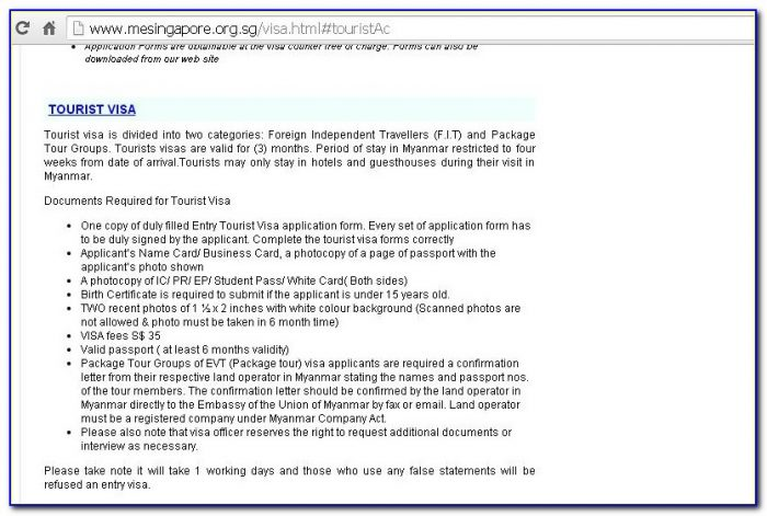 Myanmar Embassy Los Angeles Visa Application Form