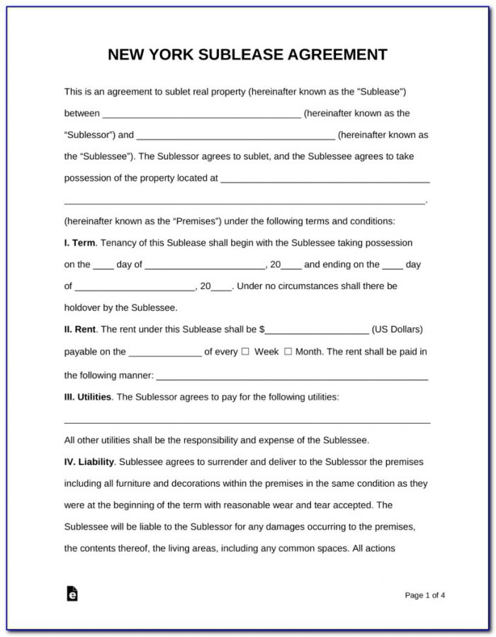 New York Sublease Agreement Form