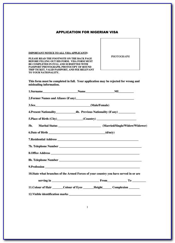 Nigeria Visa Application Form For Pakistan