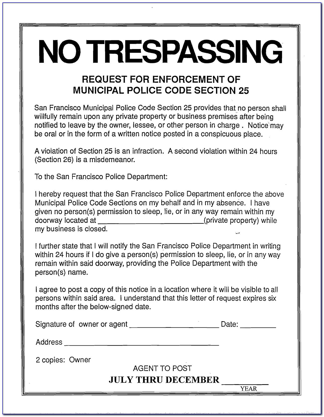 No Trespassing Form Ontario