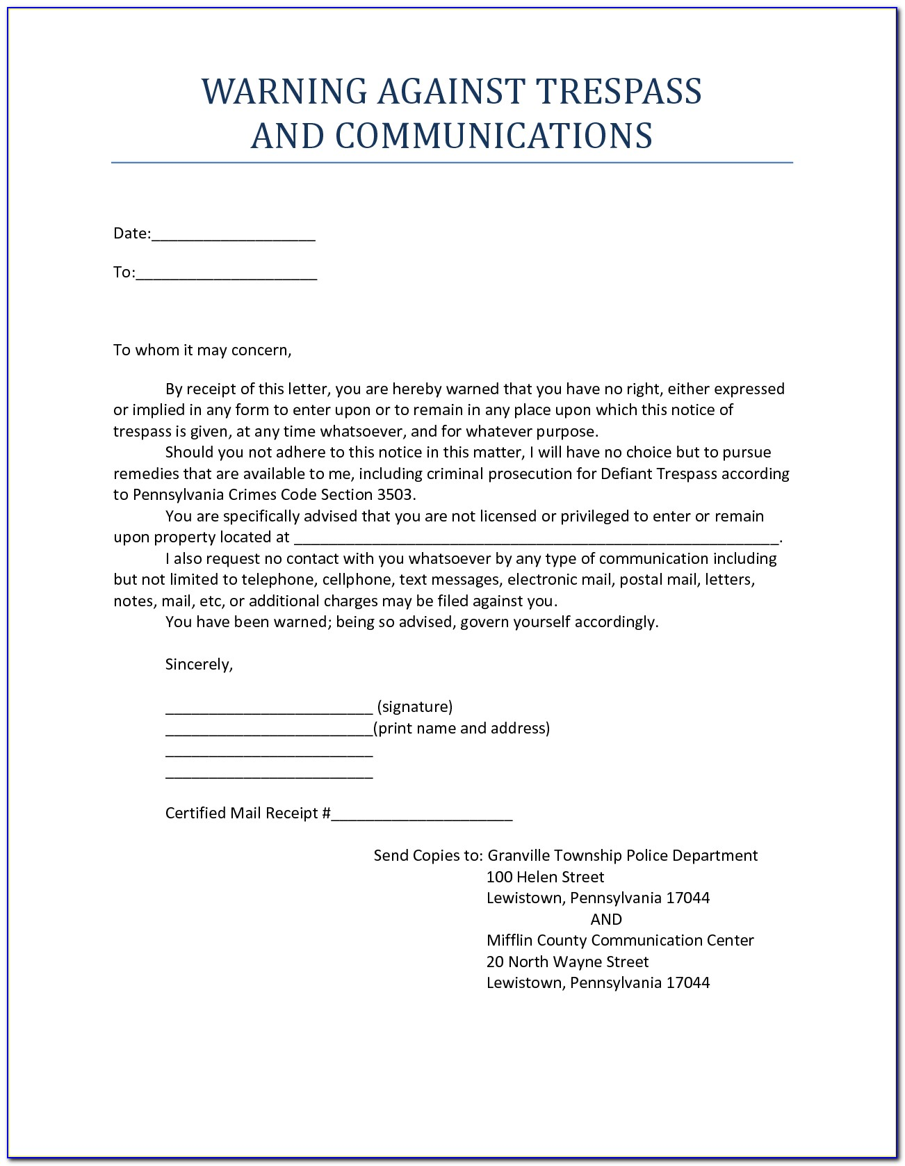 No Trespassing Notice Letter