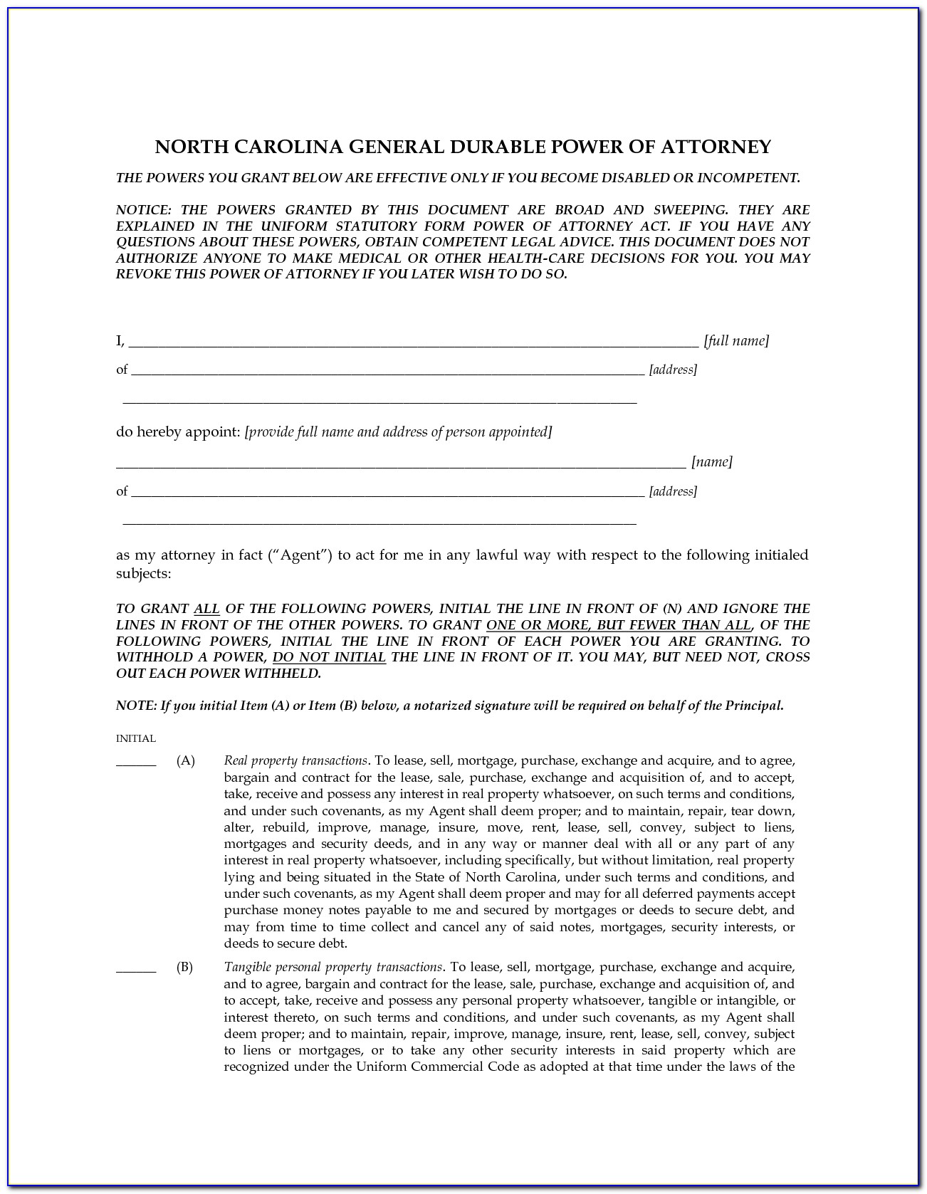 North Carolina Durable Power Of Attorney Form 2018