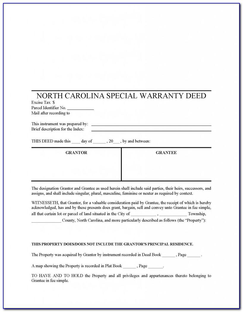 North Carolina Life Estate Deed Form
