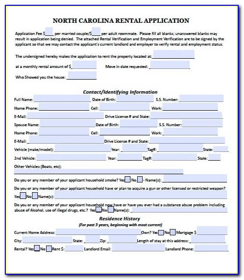 North Carolina Month To Month Rental Agreement Form