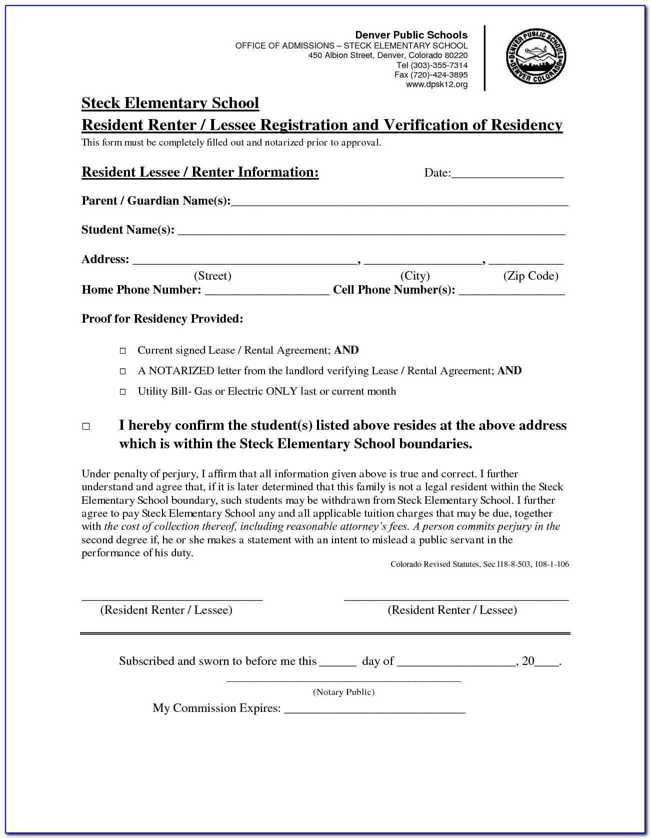 Notarized Lease Agreement Form