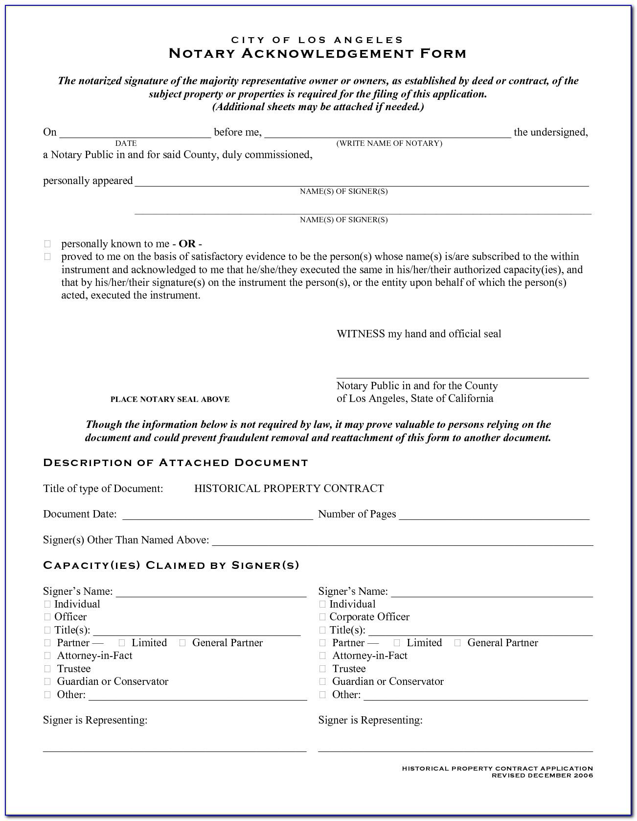 Notary Acknowledgement Form Arizona