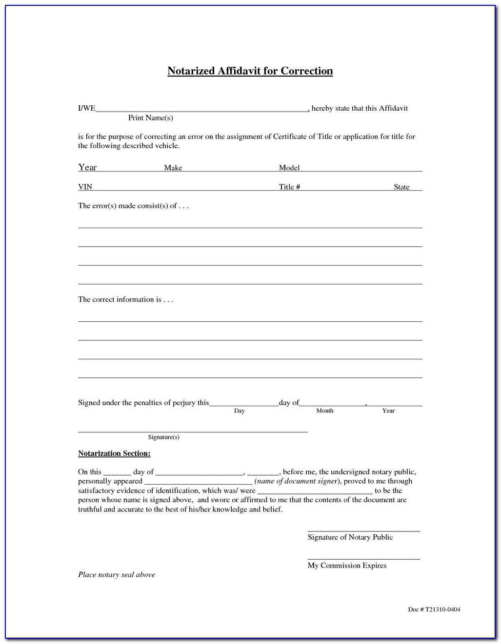 Notary Affidavit Form California