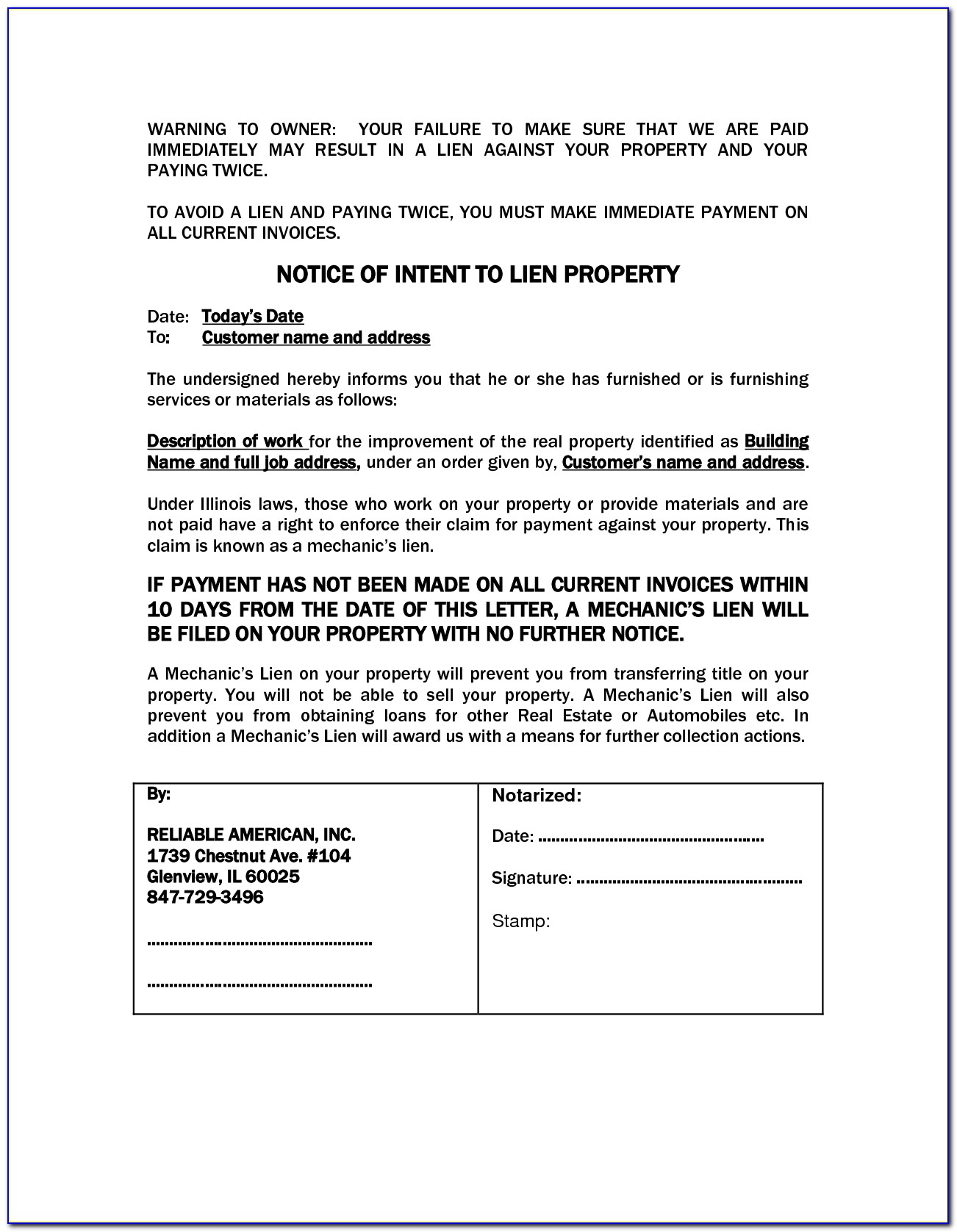 Notice Of Intent To File Lien Colorado Form