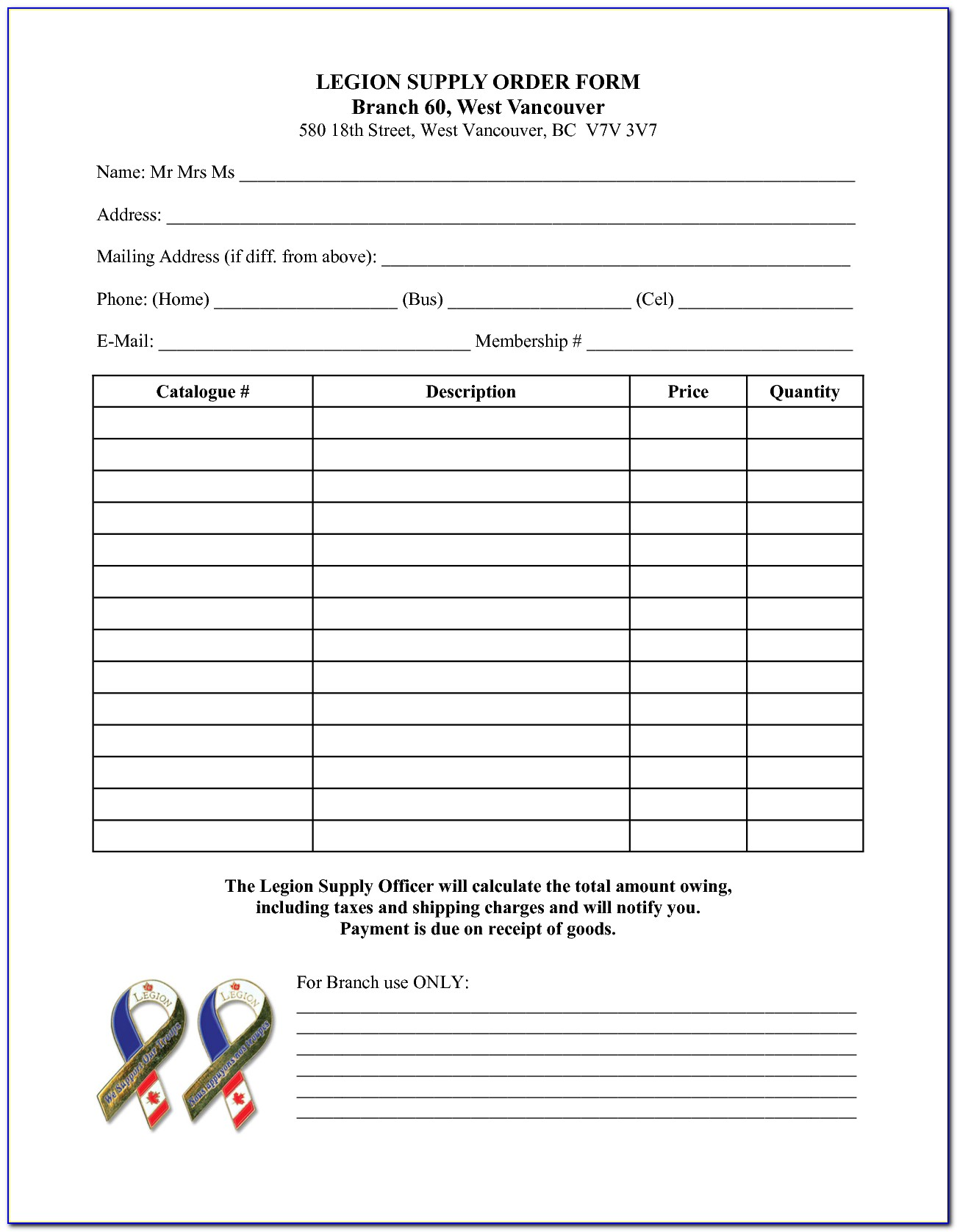 Office Supply Request Form Template Free