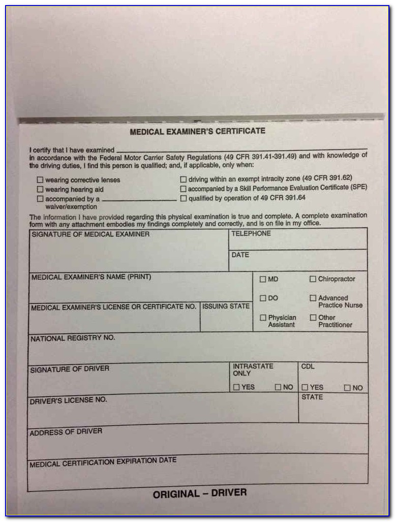 Ohio Dot Cdl Physical Form