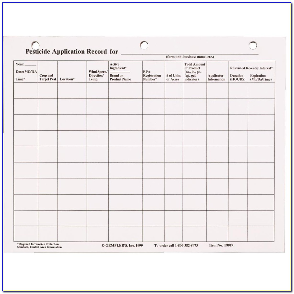 Ohio Pesticide Record Keeping Form