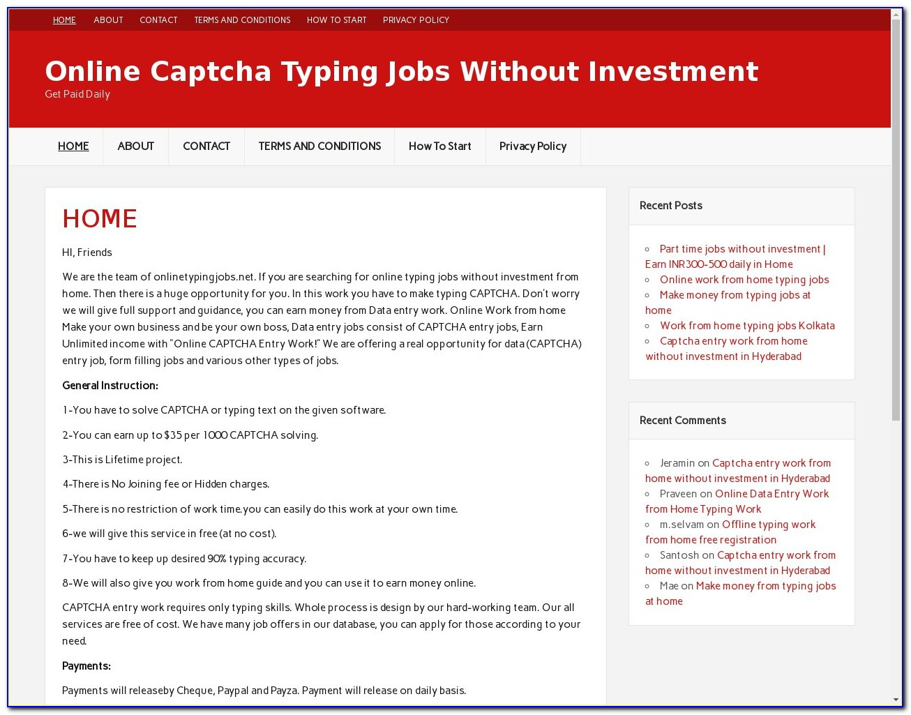 Online Form Filling Jobs From Home Without Investment In India