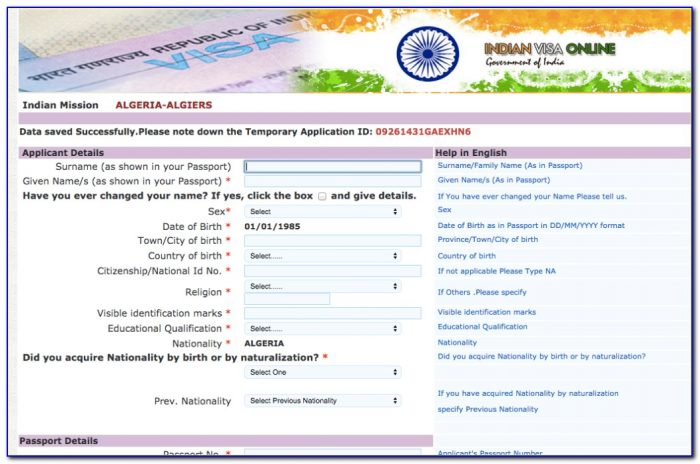 Online Indian Visa Application Form Download