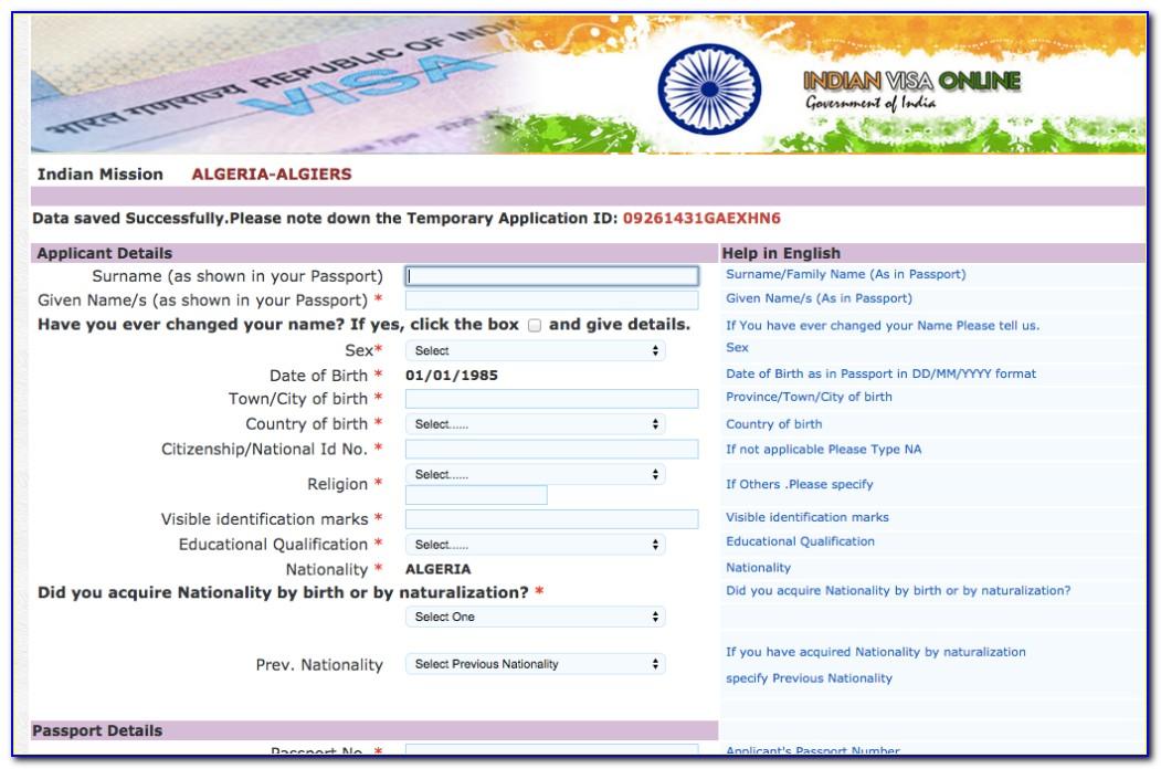 Online Indian Visa Application Form Download
