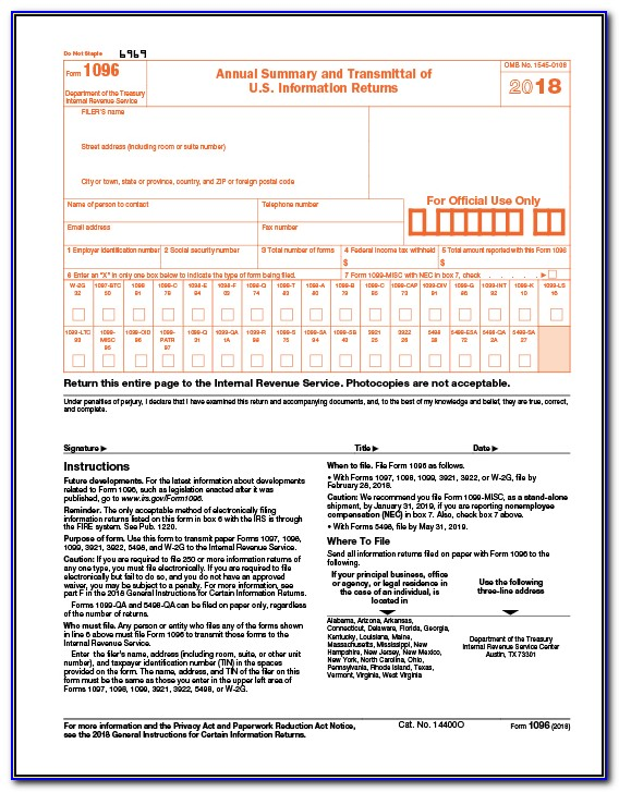 Order Irs Forms 1099 And 1096