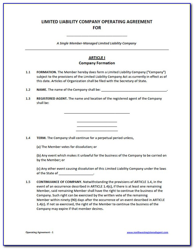Oregon Llc Operating Agreement Form Free Download