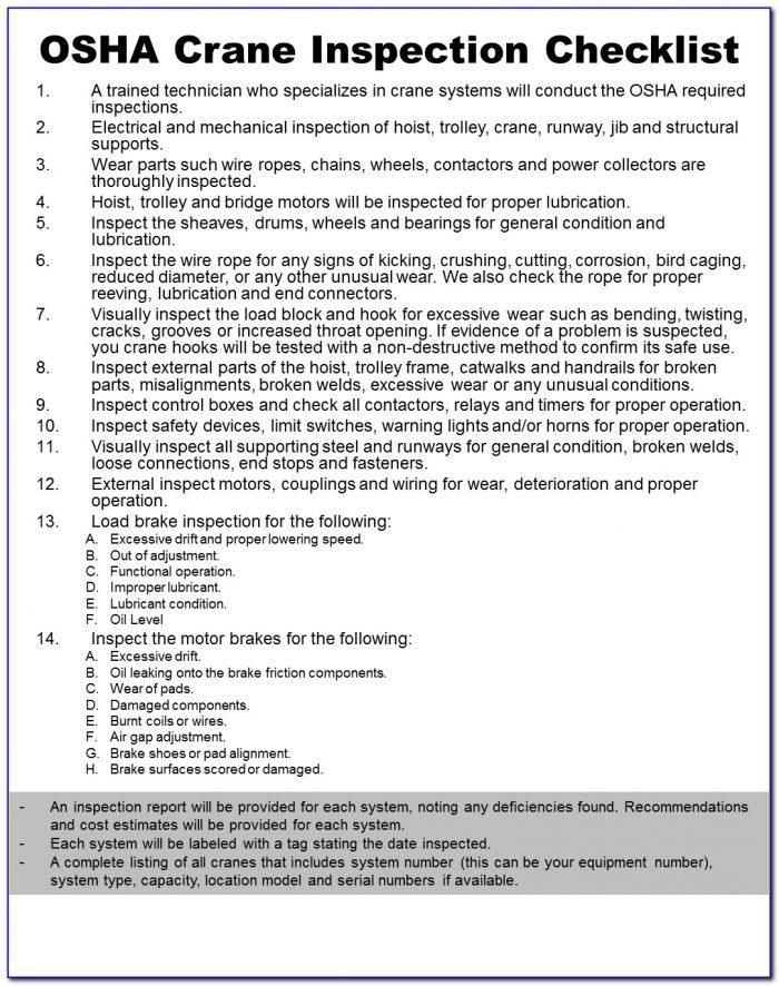 Osha Annual Crane Inspection Form