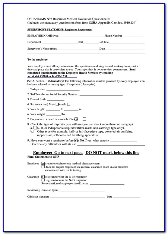 Osha Respirator Medical Evaluation Form