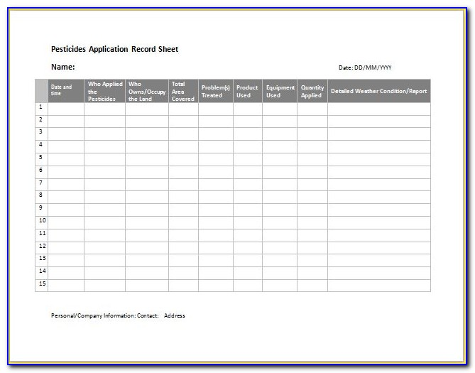 Pa Pesticide Record Keeping Form