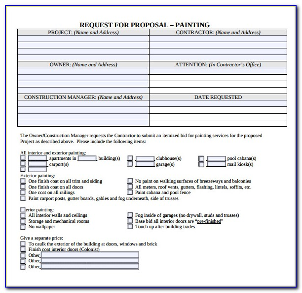 Painting Contractor Proposal Forms