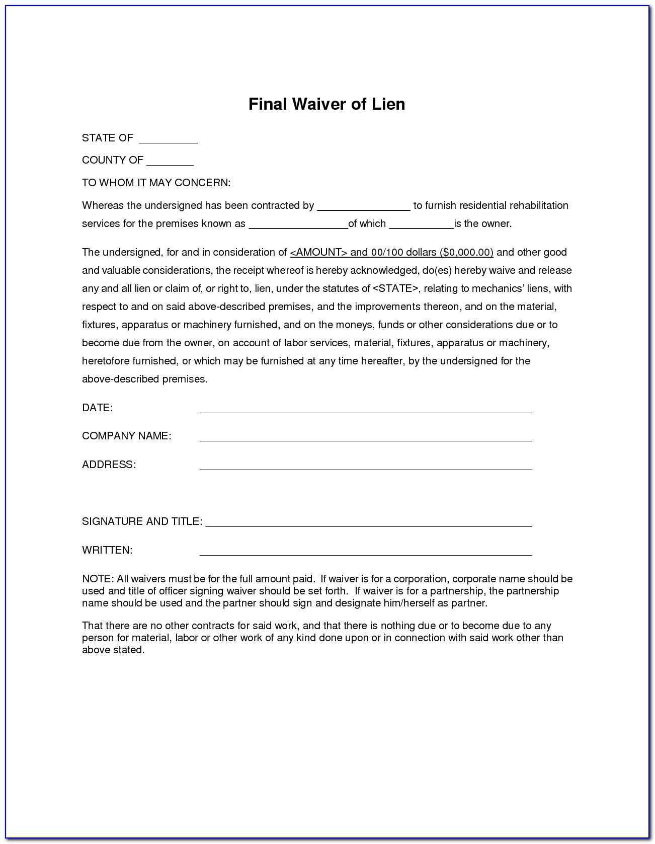 Partial Waiver Of Lien Form Indiana