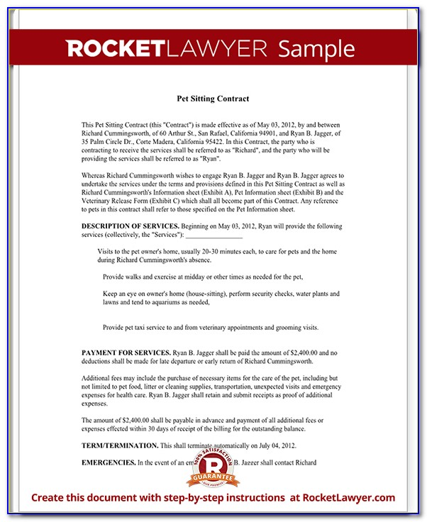 Pet Boarding Contract Template